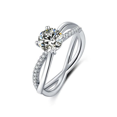 S925 Silver Platinum Plated Moissan Diamond 1 Carat Class D Ring NHKL245491's discount tags