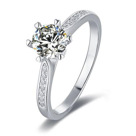 S925 Silver Platinum Plated Moissan Diamond 1 Carat Class D Ring NHKL245492's discount tags