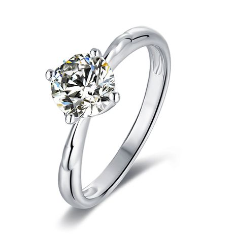 S925 Silver Platinum Plated Moissan Diamond 1 Carat Class D Ring NHKL245493's discount tags