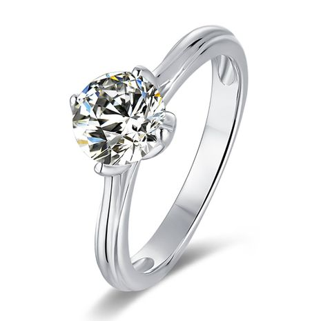 S925 Silver Platinum Plated Moissan Diamond 1 Carat Class D Ring NHKL245494's discount tags