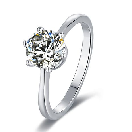 S925 Silver Platinum Plated Moissan Diamond 1 Carat Class D Ring NHKL245495's discount tags