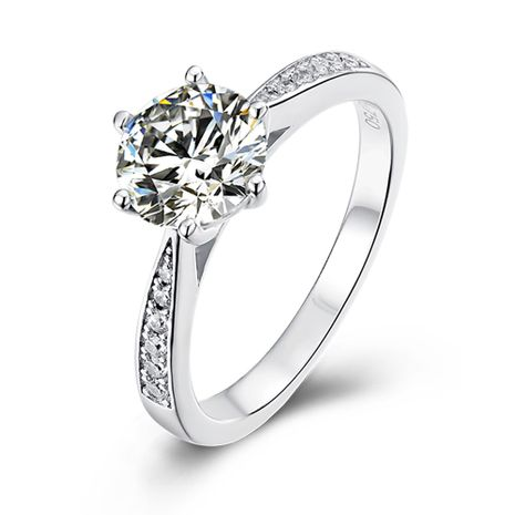 S925 Silver Platinum Plated  Diamond 1 Carat Class D Ring NHKL245496's discount tags