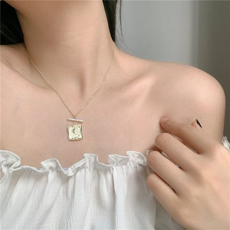Korea  bump metal square pearl pendant necklace wholesale nihaojewelry NHYQ245124's discount tags