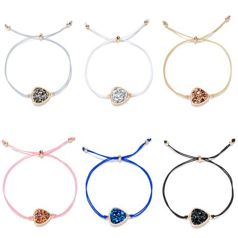 Korean crystal peach heart multi-color rope imitation natural stone bracelet wholesale  NHAN245199's discount tags