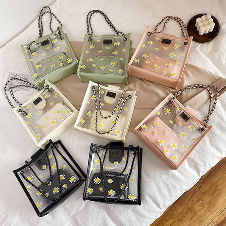 new Korean fashion chain transparent jelly daisy  bag wholesale  NHXC245211's discount tags