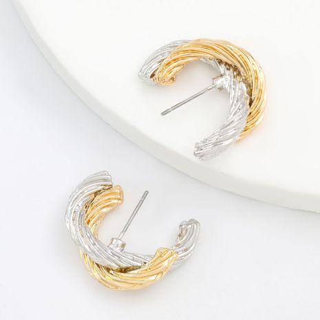 style minimaliste simple alliage double couche en forme de C rétro boucles d'oreilles en gros nihaojewelry NHJE245223's discount tags