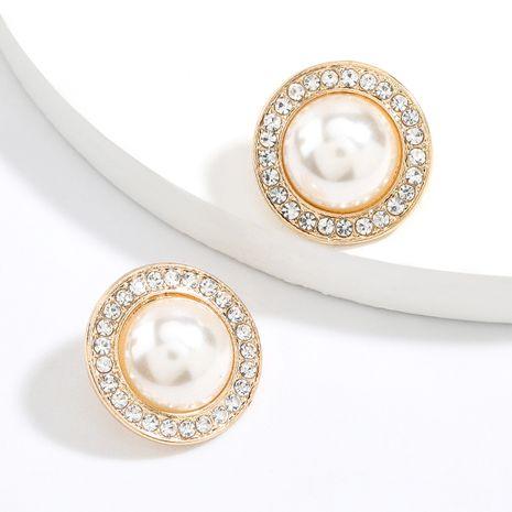 Boucles d'oreilles simples en alliage rond en diamant nihaojewelry en gros NHJE245224's discount tags