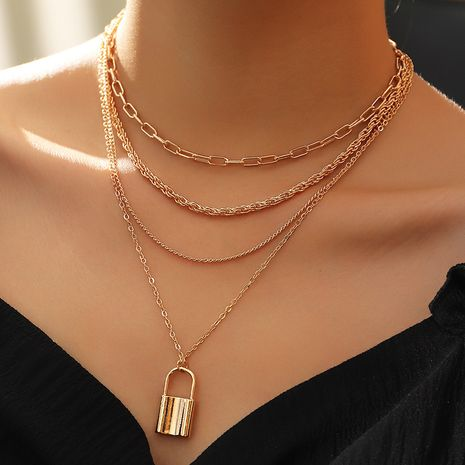simple multi-layer chain necklace punk style popular lock necklace wholesale nihaojewelry NHNZ245236's discount tags
