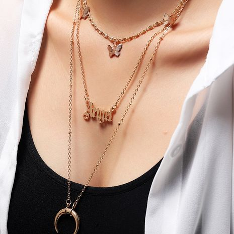 fashion multi-layer item decoration letter Angel butterfly necklace wholesale nihaojewelry NHNZ245241's discount tags