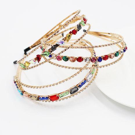 New simple metal three-layer rhinestone headband  wholesale nihaojewelry NHWJ245253's discount tags