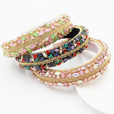 New Baroque full diamond sponge headband ladies colorful rhinestone headband  wholesale  NHWJ245255's discount tags