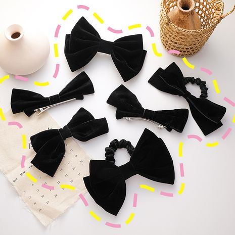 Vintage black velvet bow bangs top clip wholesale nihaojewelry NHMS245260's discount tags