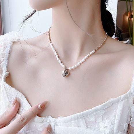 three-dimensional love natural baroque pearl necklace  wholesale  NHMS245269's discount tags