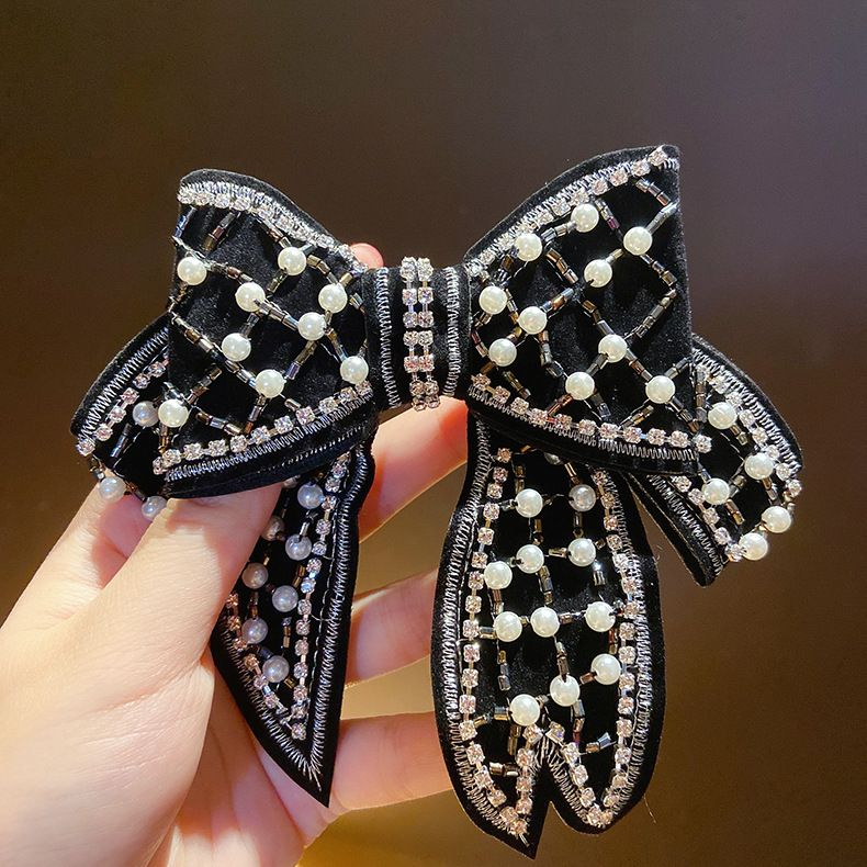 black pearl big bow hair clip Korean back head hairpin  NHMS245276