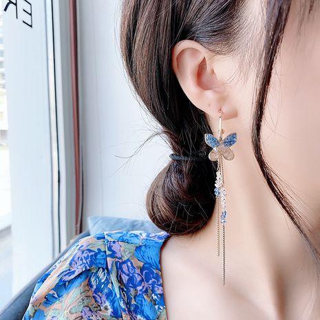 Boucles d'oreilles longues pompon papillon violet cristal coréen en gros NHMS245296's discount tags