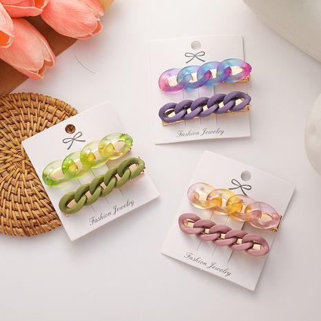 Korean hairpin simple retro color chain hairpin side clip hairpin wholesale nihaojewelry NHMS245300's discount tags