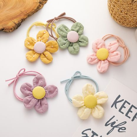 Korean new children's wave dot flower hair scrunchies  wholesale nihaojewelry NHMS245304's discount tags