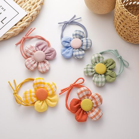 Korean lattice hit color tie simple five petal flower head rope wholesale nihaojewelry NHMS245305's discount tags