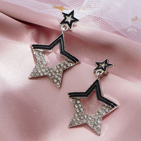 Korean  rhinestone five-pointed star hollow exaggerated simple French earrings NHOT247028's discount tags