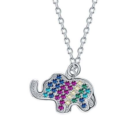 S925 sterling silver colored diamond elephant zircon necklace NHKL245458's discount tags