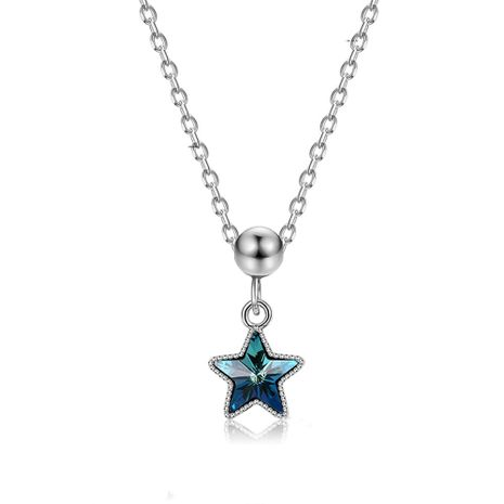 fashion 925 sterling silver five-pointed star necklace NHKL245456's discount tags