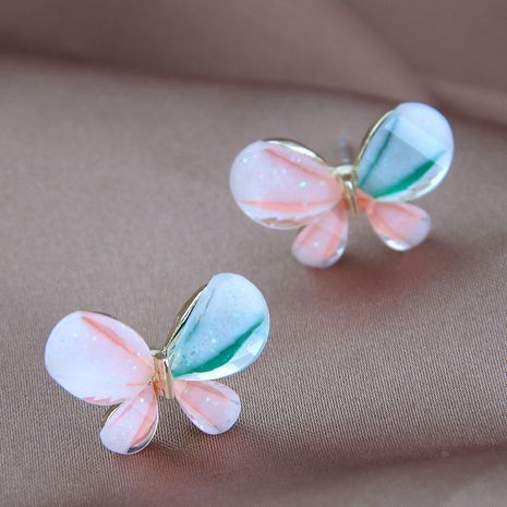 925 Silver Needle Korean Fashion Sweet Colorful alloy Butterfly Stud Earrings NHSC245519's discount tags