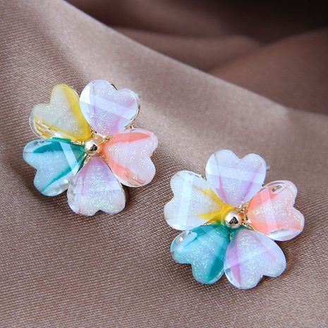 925 silver needle Korean fashion sweet and colorful alloy flower earrings NHSC245518's discount tags