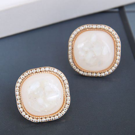 925 silver needle Korean fashion sweet three-dimensional square accessories earrings NHSC245516's discount tags