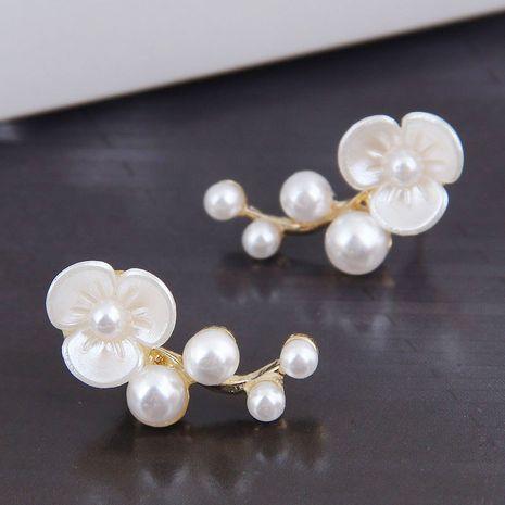 925 Silver Needle Korean Fashion Sweet Shell Flower Pearl women's alloy Earrings NHSC245515's discount tags