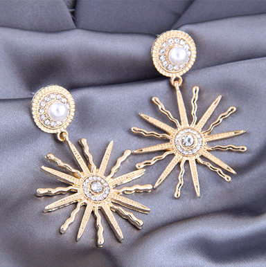 925 silver needle fashion concise sunflower exaggerated earrings NHSC245513's discount tags