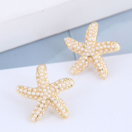 925 silver needle  Korean fashion metal simple starfish pearl alloy earrings NHSC245507's discount tags
