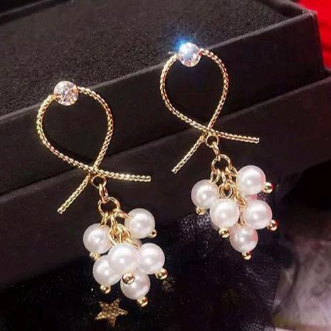 925 aiguille en argent coréen mode métal noué boucles d'oreilles en alliage de perles élégantes douces NHSC245508's discount tags