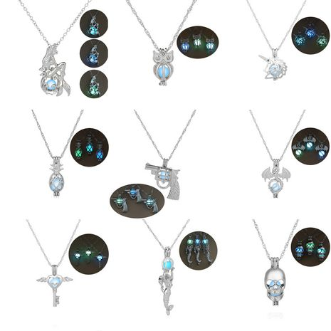 Hot Sale Luminous Cage Fashion Openable Pendant Halloween Luminous Jewelry alloy Necklace  NHAN245529's discount tags