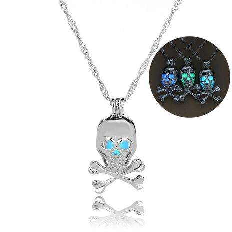 hot-selling luminous openable skull pendant Halloween luminous necklace wholesale nihaojewelry NHAN245531's discount tags