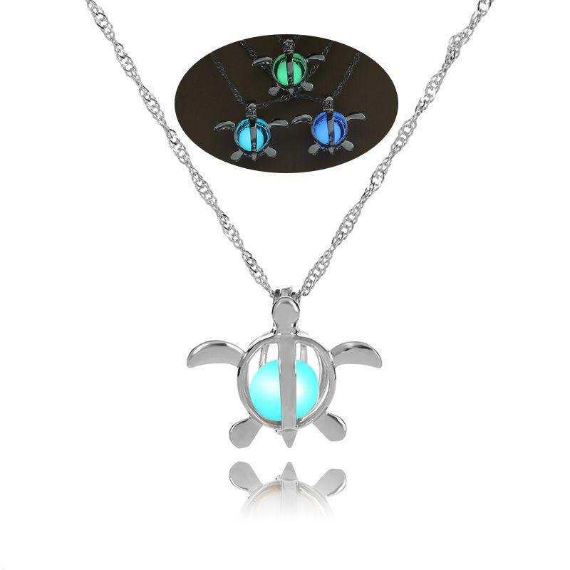 luminous beads  hollow turtle DIY pendant Halloween luminous necklace wholesale nihaojewelry NHAN245533
