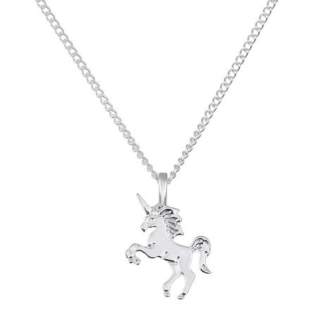 cute little unicorn electroplating gold silver animal horse women's alloy necklace clavicle chain NHMO245562's discount tags