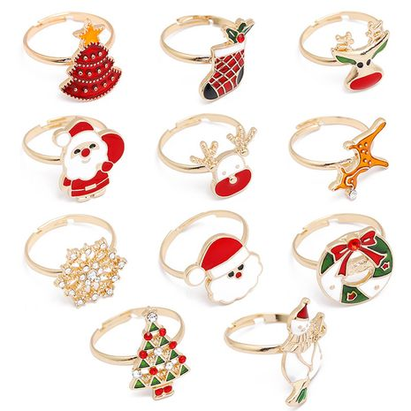Christmas Series Cartoon Snowman Elk Alloy Dripping Oil Ring Hand Ornament wholesale nihaojewelry NHMO245578's discount tags