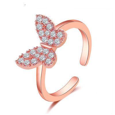 nouvelle bague ajustable tout-allumette en diamant micro-incrusté dame papillon en gros nihaojewelry NHMO245580's discount tags