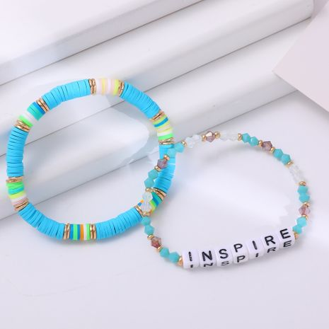 New ethnic letter crystal bead hot-selling handmade color beaded bracelet  NHLL245587's discount tags