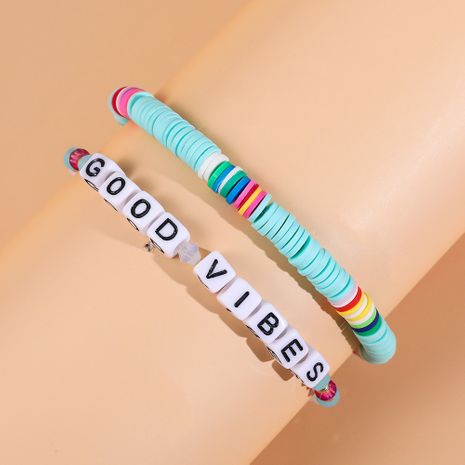 new ethnic alphabet crystal bead hot-selling handmade color beaded bracelet  NHLL245588's discount tags