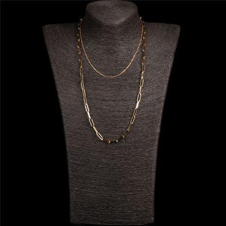 Mode punk hip-hop style double chaîne de la clavicule hommes et femmes croix collier de chaîne épaisse NHPY245592's discount tags