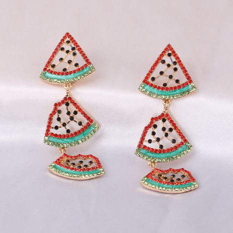 Summer new diamond-studded watermelon alloy pendant earrings  NHJJ245605's discount tags