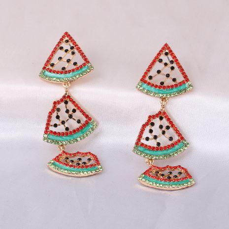 Summer new diamond-studded watermelon alloy pendant earrings  NHJJ245605's discount tags