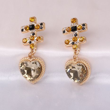 Fashion exaggerated heart-shaped diamond  women's earrings wholesale NHJJ245606's discount tags