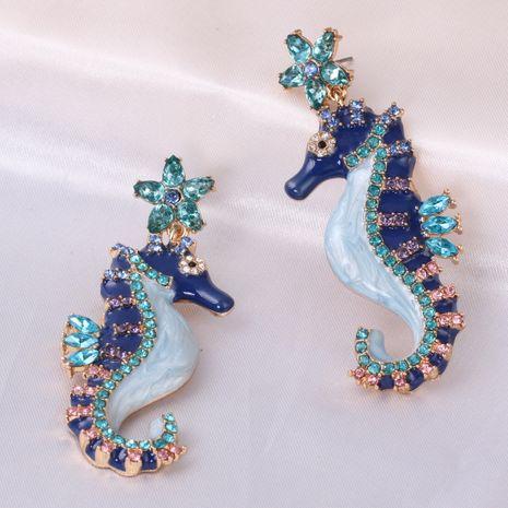 Fashion diamond-studded hippocampus retro animal women's earrings  NHJJ245608's discount tags