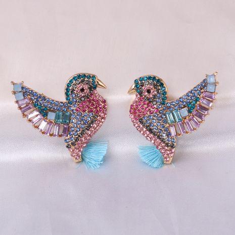 Fashion full diamond peak bird tassel retro animal women's alloy earrings  NHJJ245609's discount tags