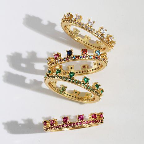 new fashion ladies crown geometric diamond copper ring wholesale  NHJJ245615's discount tags