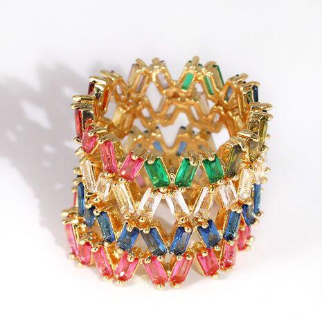 new fashion ladies rectangular trapezoidal zircon glass ring wholesale nihaojewelry NHJJ245617's discount tags