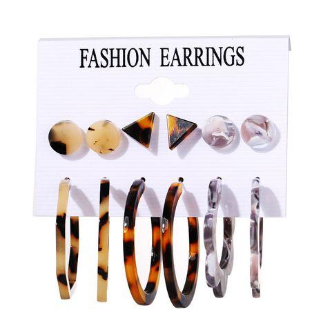 nouvel ensemble de fleurs en acrylique 6 paires de boucles d'oreilles simples rétro créatives en gros NHPJ245627's discount tags