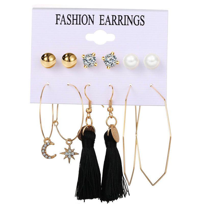 new geometric star  moon tassel creative retro simple alloy metal earrings wholesale NHPJ245628